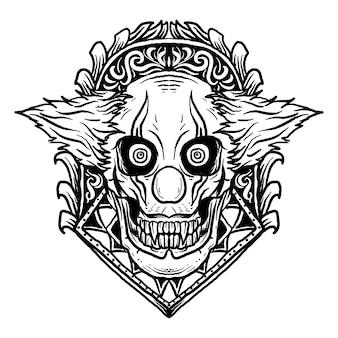 Disegno in bianco e nero illustrazione disegnata a mano teschio di pagliaccio con ornamento incisione
