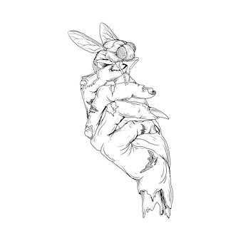 Disegno in bianco e nero illustrazione disegnata a mano vola sulle mani degli zombie