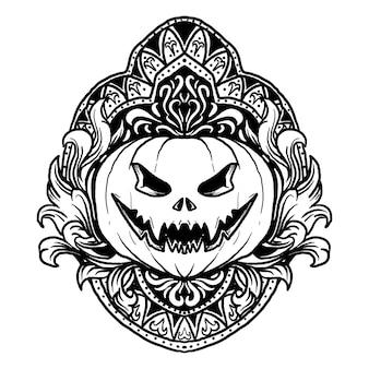 Disegno in bianco e nero illustrazione disegnata a mano zucca di halloween incisione ornamento