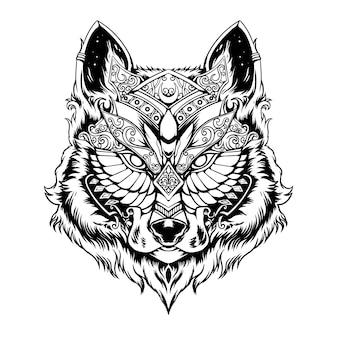 Progetta l'illustrazione della testa del mecha del lupo disegnata a mano in bianco e nero