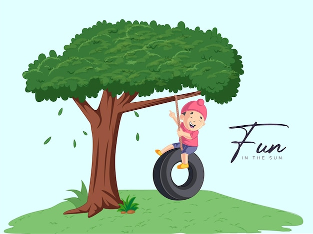 Il disegno del ragazzo è seduto sull'altalena del pneumatico