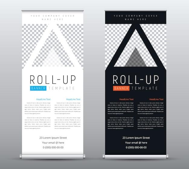 Progettazione di banner roll up aziendale con posto per foto in triangoli.