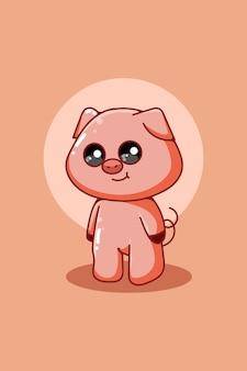Personaggio di design del simpatico cartone animato di maiale