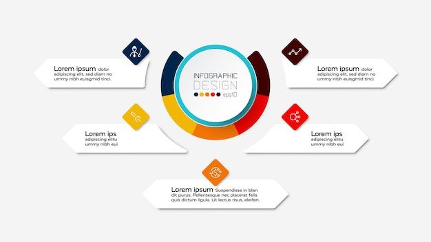 Progettazione di diagrammi circolari infografica.