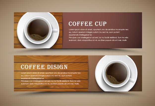 Progettazione banner caffè impostato con una tazza di caffè