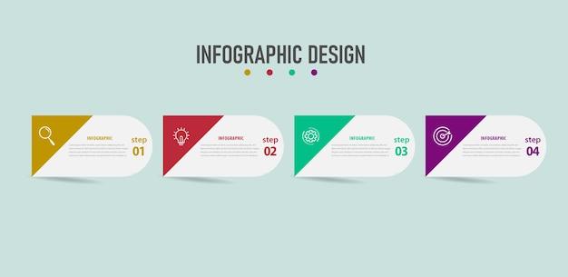 Modello di infografica aziendale di progettazione con quattro passaggi