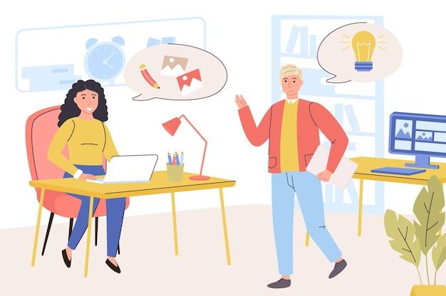 Concetto di azienda di design designer uomo e donna che lavorano al brainstorming del progetto