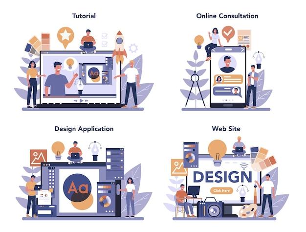 Servizio online di concetto di design o set di piattaforme. grafica, web, design di stampa. applicazione di progettazione in linea, sito web, consultazione in linea, video tutorial. illustrazione piatta vettore