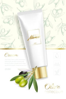 Progetta pubblicità di prodotti cosmetici per catalogo, rivista. mock up del pacchetto cosmetico. crema idratante, gel, latte per il corpo con olio d'oliva.