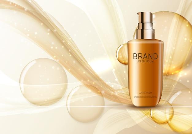 Modello di prodotto di cosmetici design per annunci o sfondo rivista. iillustration realistico 3d