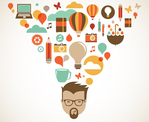 Illustrazione del concetto di design, creatività, idea e innovazione