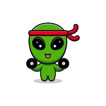 Il design di un simpatico alieno si sta esercitando per il muscolo gein