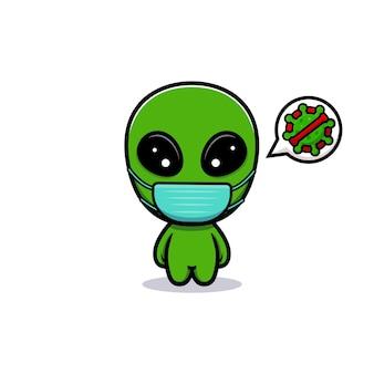Design di simpatico alieno che indossa una maschera per prevenire virus