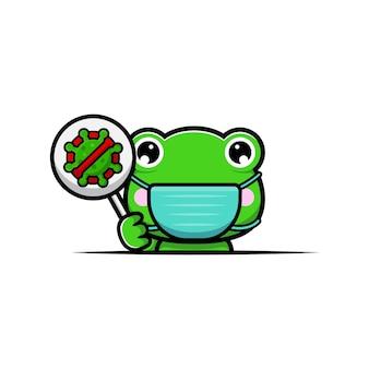 Design della rana carina che indossa una maschera per prevenire il virus