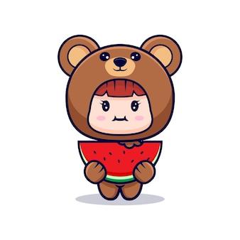 Design della ragazza carina che indossa il costume da orso che mangia anguria