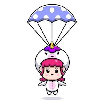 Disegno di una ragazza carina che indossa un costume da unicorno con illustrazione dell'icona del paracadute