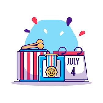 Elementi di design del cartone animato del giorno dell'indipendenza del 4 luglio