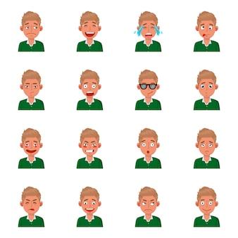 Design dell'icona viso e ragazzo. set di viso e giovane illustrazione di riserva.