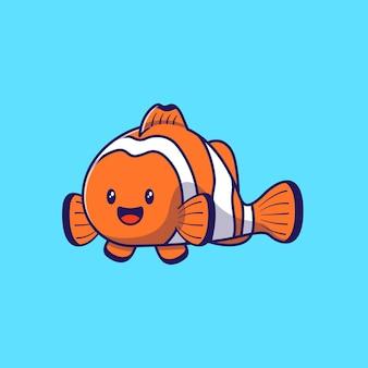 Illustrazione di progettazione del pesce pagliaccio sveglio del personaggio dei cartoni animati isolato.