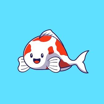 Illustrazione di progettazione del simpatico personaggio dei cartoni animati koi fish isolato.