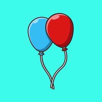 Design illustrazione di due palloncini in rosso e blu