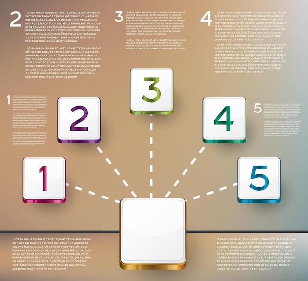 Infografica di design con cinque opzioni. illustrazione di vettore.