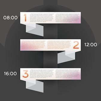 Infografica di design con tre opzioni. illustrazione di vettore.