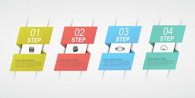 Progettare infografiche con 4 passaggi. schema a blocchi del concetto di business, grafico delle informazioni, flusso di lavoro.