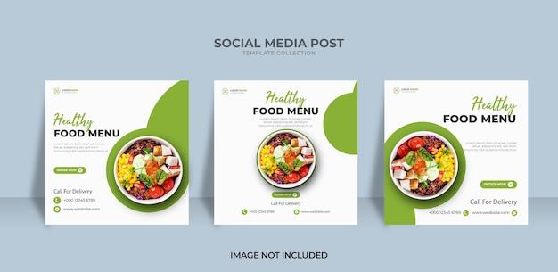 Progetta il modello dell'insegna dell'alimento del menu del post di instagram