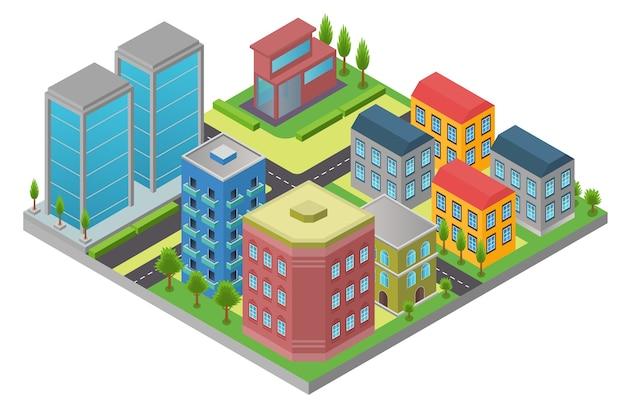 Progettazione in isometria dell'elemento della città con strada e edificio moderno nel quartiere isolato