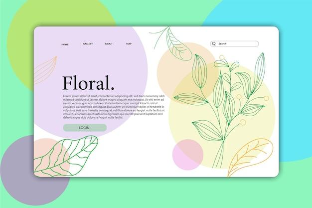 Progetta la pagina di destinazione o la pagina web progetta modelli di fiori naturali