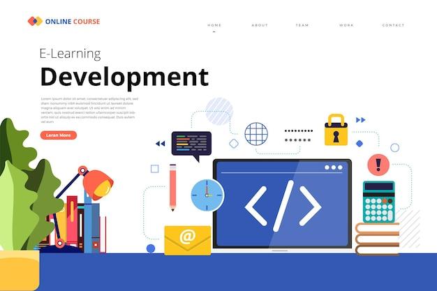 Progettazione della pagina di destinazione del sito web educazione programmazione dello sviluppo del corso online