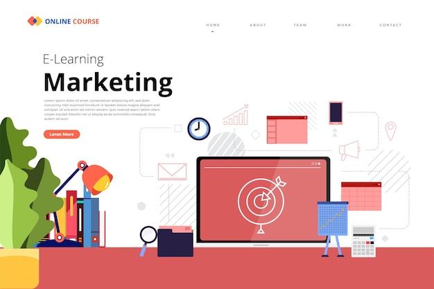 Progettazione del sito web della pagina di destinazione educazione marketing del corso online
