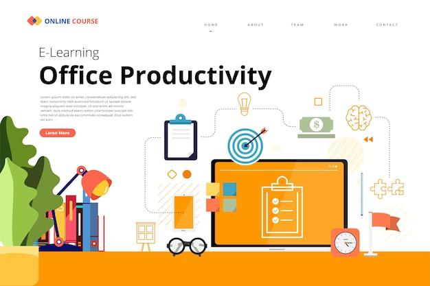 Progettazione della pagina di destinazione del sito web formazione del corso online produttività dell'ufficio