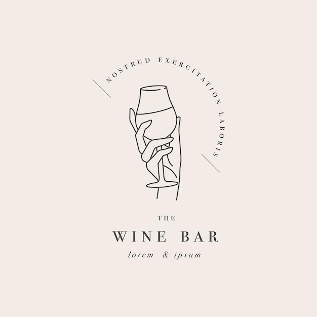 Design modello lineare logo o emblema mano femminile che tiene il bicchiere di vino