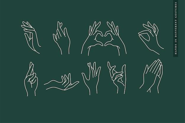 Progettare loghi modello lineare o emblemi mani in diversi gesti