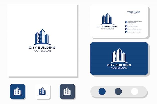 Loghi di design e biglietti da visita per la costruzione di edifici urbani, loghi astratti ispiratori per edifici di città moderni