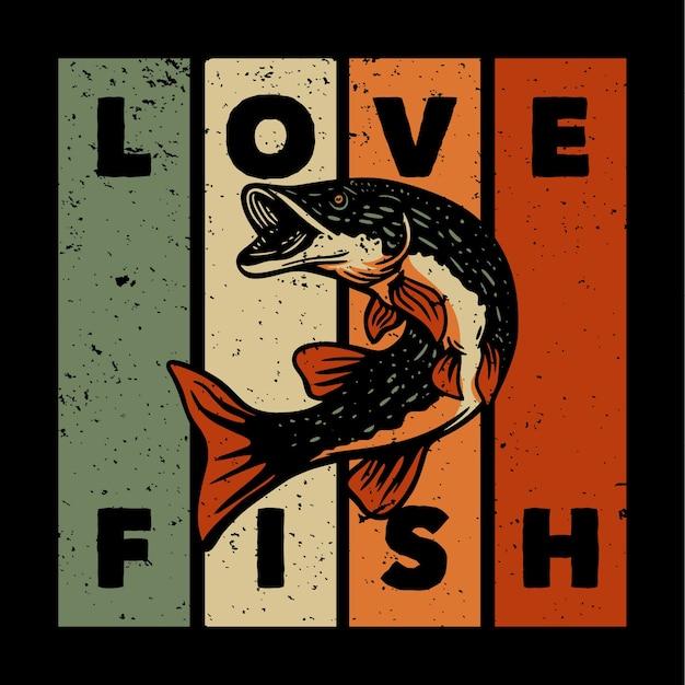 Disegno amo il pesce con illustrazione vintage di pesce luccio del nord