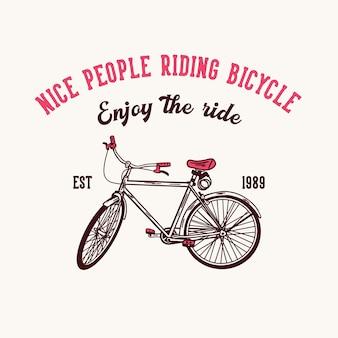 Progettare persone simpatiche andare in bicicletta godersi il giro est 1989 con illustrazione vintage bicicletta