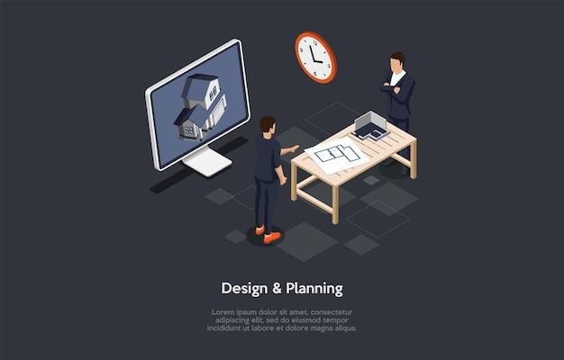 Illustrazione di vettore di concetto di progettazione e pianificazione su fondo scuro con testo. composizione isometrica in stile cartoon 3d. processo di architettura abitativa e edilizia. visualizzazione della costruzione domestica.