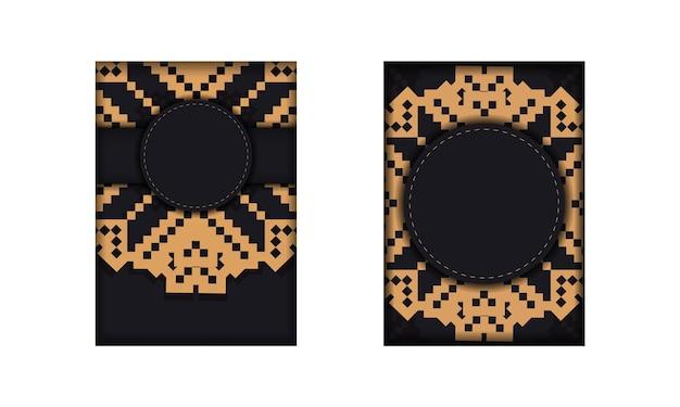 Disegno di una cartolina in nero con un ornamento slavo. design per biglietti d'invito con spazio per il tuo testo e motivi vintage.