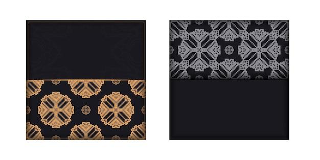 Disegno di una cartolina in nero con un ornamento slavo. scheda dell'invito di vettore con posto per il tuo testo e modelli vintage.