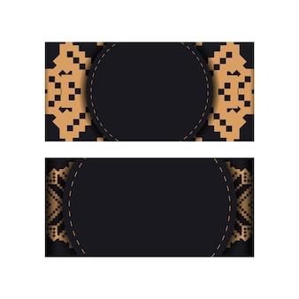 Disegno di una cartolina in nero con motivi slavi. scheda dell'invito di vettore con posto per il tuo testo e ornamenti vintage.