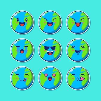 Insieme di progettazione della mascotte della terra sveglia emoji.