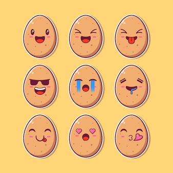 Insieme di progettazione degli emoji della mascotte dell'uovo sveglio.
