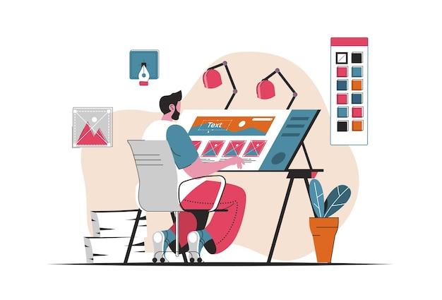 Concetto di studio di design isolato. sviluppo di grafica, immagini, logo del marchio. scena di persone nel design piatto del fumetto. illustrazione vettoriale per blog, sito web, app mobile, materiale promozionale.