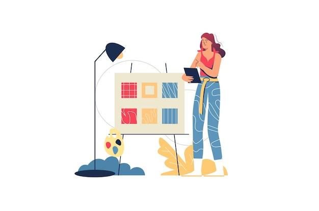 Concetto di web dello studio di progettazione. illustratore donna che disegna immagini su tablet, dipinge con colori su tela. lavoratore creativo in agenzia, scena di persone minime. illustrazione vettoriale in design piatto per sito web