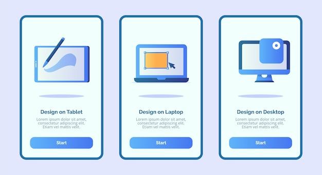 Progettazione su tablet design su laptop design su desktop