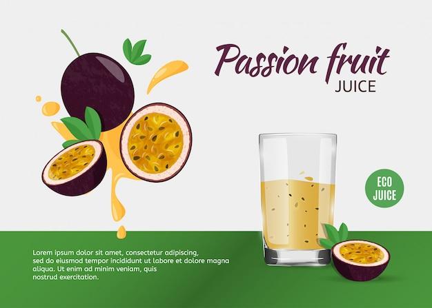 Modello di progettazione per annunci con succo di frutto della passione.