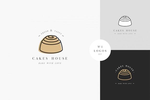 Modello di progettazione ed emblema - icona della torta per pasticceria. negozio di dolciumi.